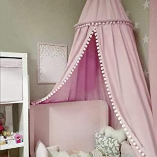 Bed Canopy for Children,Cotton Dome Mosquito Net with Pompom Ornaments Kids Room Decorations Play Tent Photography Props