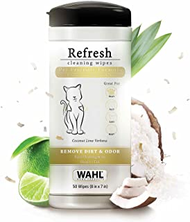 Wahl Refresh Grooming Pet Wipes, Pet Cleaning Wipes, Paraben Free Wipes, Alcohol Free, Peg-80 Free, Deodorising Tissues, Cleansing Wet Wipes for Pets, Cats and Dogs