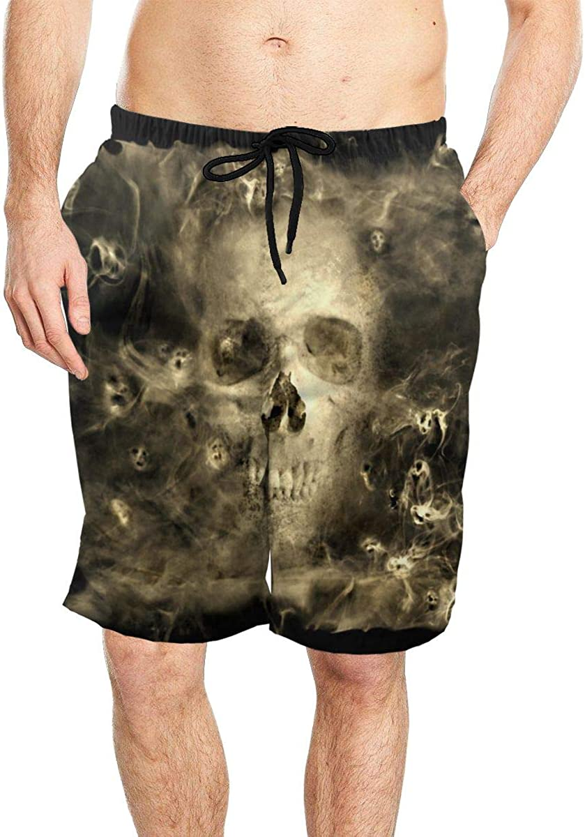 Skull with Smoke Demons Men Quick Dry Beach Board Shorts Swim Trunks with Mesh Lining