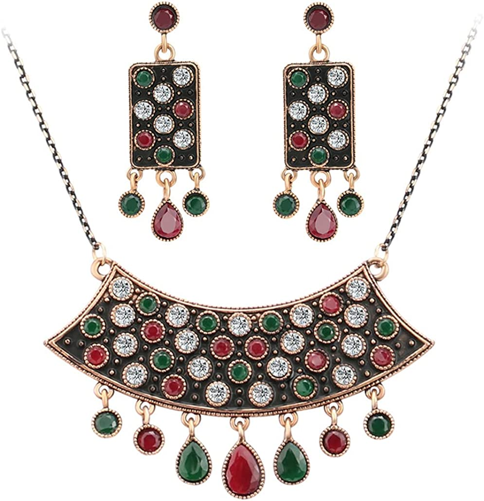 SONTONXON Turkish Jewelry Sets Resin Crystal Sculpture Flowers Necklace and Earrings Color Gold Women Engagement Party Gift of Love