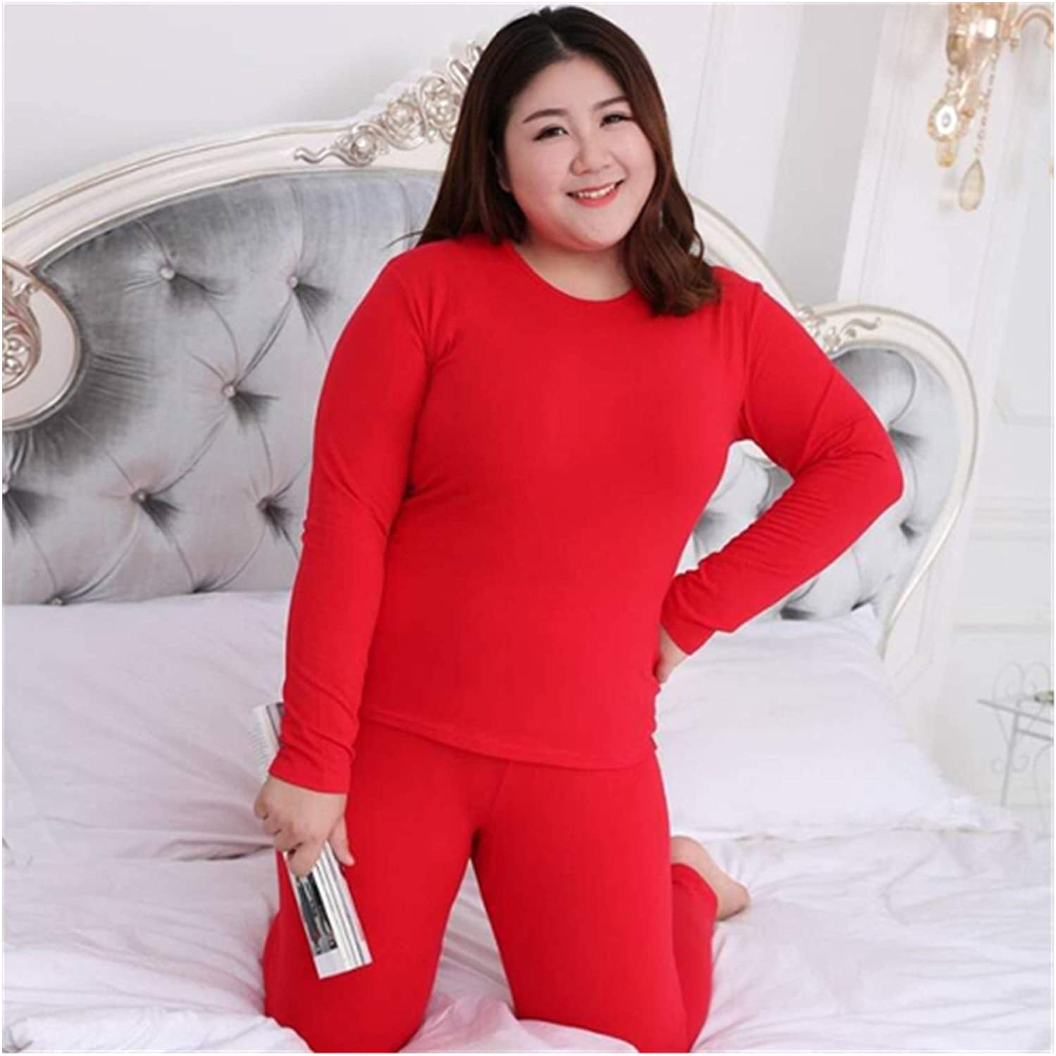 Winter Clothes Women Long Sleeve Plus Size Thermal Long Johns Autumn Long Johns Solid Warm Women Thermal Underwear (Color : R J 283 Hong, Size : M)