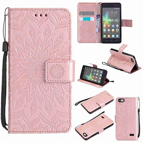 Guran? Funda de Cuero para Huawei G Play Mini Smartphone Función de Soporte con Ranura para Tarjetas Flip Case Cover-Oro Rosa…