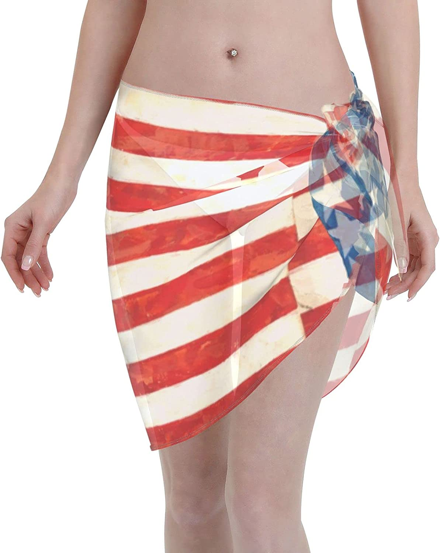 Us Flag Women Short Sarongs Beach Wrap, Beach Cover-Ups High Waisted Wrap Skirt with Slit,Sexy Sheer Swimsuit Bikini Wraps Chiffon,Soft Scarf for Swimwear Black