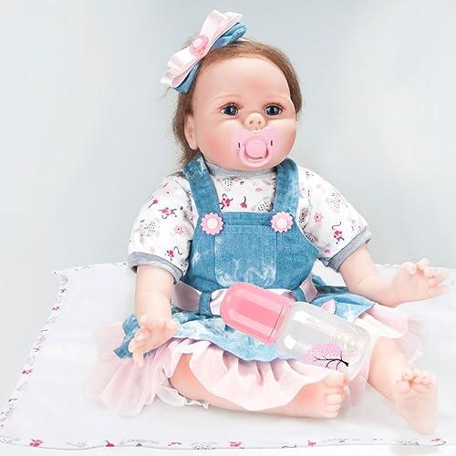 YIHANGG Vinyl Silikon Reborn Baby Doll 22-Zoll-Wiedergeburt Simulation Baby Puppe Spielzeug mädchen Weißes Silikon Frühe Kindheit Spielzeug Geburtstagsgeschenk