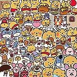BLOUR 50 Pegatinas Lindas de Dibujos Animados Oso Taza de Agua portátil Equipaje Impermeable Creativo Emoji Pegatinas