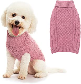 SCIROKKO Turtleneck Dog Sweater - Classic Cable Knit Winter Coat - Feather Yarn Glittered with Silver Wire - Keep Warm for Doggies Puppy