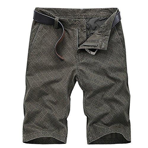WDDGPZDK Strand Shorts/Sommer Mens Cargo Shorts Lässige Shorts Für Männer Mode Baumwolle Farbe Männer Shorts Herren, Army Green, 34