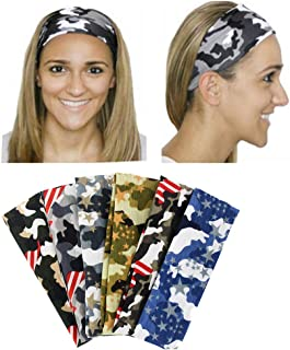 Yeshan 6 pack Cotton Elastic Yoga Camo Headband,Stretch Hairband for Running Workout sport and Fitness,Camouflage design