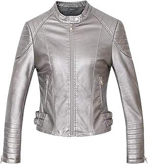 Spirio Womens Slim PU Leather Stitching Long Sleeve Coat Open Front Jacket