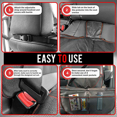 Fortem Car Seat Protector, Waterproof Backseat Thick Padding Cover for Car Seat, Protects Against Damage w/Bottom Storage (2-Pack)