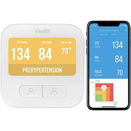 iHealth Wireless Blood Pressure Monitor, Digital WiFi Upper Arm BP Machine & Pulse Rate Monitoring Meter with Cuff 22-40cm, 2000 Set Memory, Colorful Large LCD and Built-in Rechargeable battery