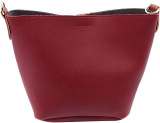 MOONRINGJPムーンコントラストバケットトートハンドバッグショルダーバッグ調節可能なドローストリングPUレザーポータブルウェディング絶妙なバッグ