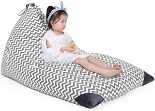 Stuffed Animal Bean Bag Storage for Kids and Adults. Premium Canvas Bean Bag Chair Cover - Cover ONLY(Chevron Print Grey 200L/52 Gal)