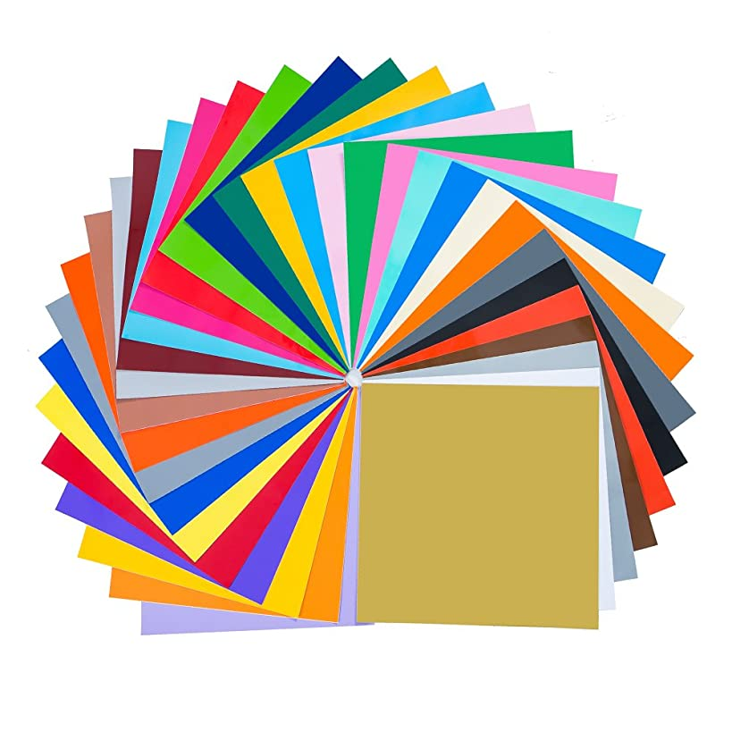 """Permanent Self Adhesive Backed Vinyl Sheets - 12"""" X 12"""" - 49 Assorted Colors for Cricut, Silhouette Cameo & Crafting Machines"""