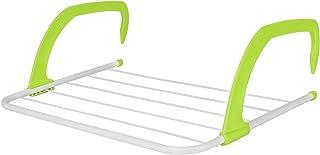 ASAB Tendedero de ropa | Tendedero sobre radiador | 3 metros de espacio para colgar | Secador interior/exterior | Ganchos plegables y ajustables | Revestimiento inoxidable, Verde, 1 Pack (Green)