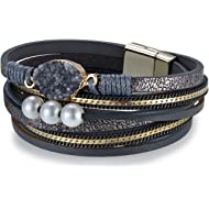Cakadier Leather Fashion Beaded Bracelet Bohemian Retro Style Bangle Womens Birthday Party Cuff...