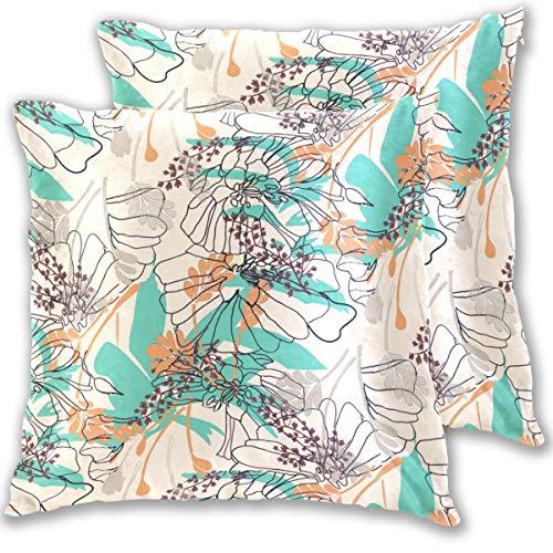 SAIAOS Fundas de Cojín Paquete de 2 Flores de Hoja Floral Naranja Azul sobre Fondo Beige,Decorativa Impreso Caso de Almohada Cuadrado Fundas de Almohada para Sofá Coche Cama 65x65cm