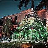 CANMIYOU Halloween Dekoration Set mit Riesenspinnennetz + 2 Stück Riesenspinne + 10 Stück kleine Terrorspinnen + Grüne Lichterketten,Halloween Deko für Party, Club, Spukhaus, Innen und Außen (Set)