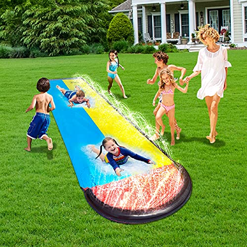 MaiHong 16Ft Lawn Water Slides, Double Splash Slip Slide with Spraying and Inflatable Crash Pad for Kids Boys Girls, Sprint Racing Water Slide for Garden Swimming Pool Outdoor Party Water Toys