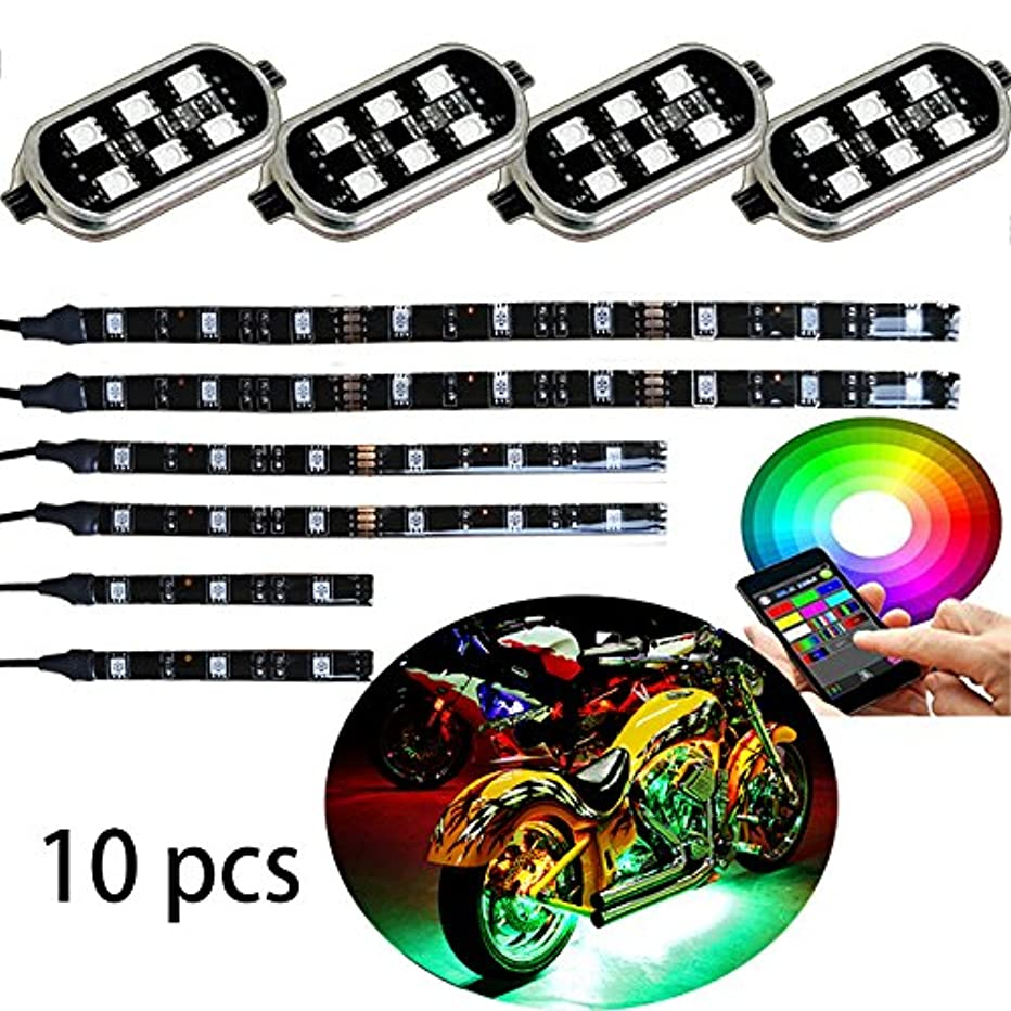 Million Color 6pc strip + 4pc pod led Motorcycle Cellphone app Bluetooth Controller Motorcycle LED Light Kits with Music Sync for motorcycle,ATV,golf Car