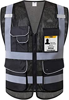JKSafety 9 Pockets High Visibility Safety Vest With Reflective Strips Zipper Front, HQ Breathable Mesh, Oxford Fabric for pocket materials. Black Meets ANSI/ISEA Standards (Medium, Black) …
