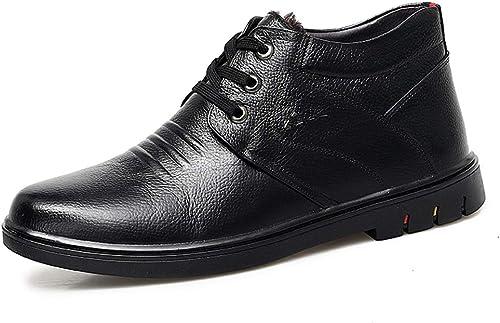 JIALUN-Schuhe 2018 Neue Herrenmode Stiefeletten Casual komfortable runde Kappe mittleren Alters High Top Fleece gefütterte Stiefel (Farbe   Schwarz Größe   44 EU)