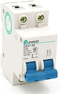 Baomain Miniature Circuit Breaker DZ47-63 C32 AC 230V 400V 32Amp 2 Pole DIN Rail Mounting