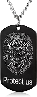 ZJFHTD Police Officers Prayer Dog Tag Pendant Protect Us Support Our Police Military Necklace Gift-C14