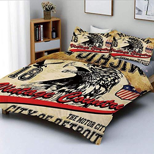 Qoqon Bettbezug-Set, handgezeichnete Stadt Detroit Michigan Digitale Kunst mit einem Porträt eines Adlers DekorativDekorativ 3-teiliges Bettwäscheset mit 2 Kissen Sham, Hellbraun Schwarz Rot, BES