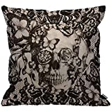 HGOD DESIGNS Cushion Cover Victorian Gothic Lace Skull Black,Throw Pillow Case Home Decorative...