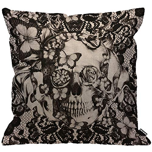HGOD DESIGNS Cushion Cover Victorian Gothic Lace Skull Black,Throw Pillow Case Home Decorative for Men/Women Living Room Bedroom Sofa Chair 18X18 Inch Pillowcase 45X45cm