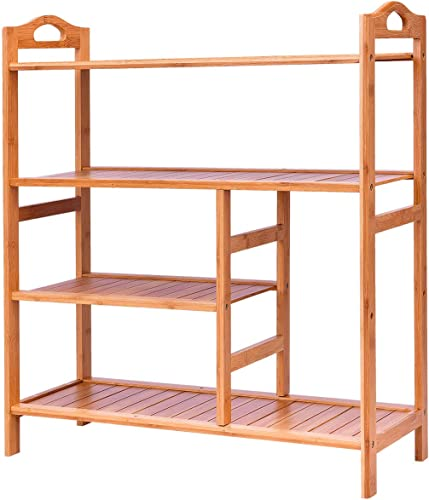 wholesale Giantex 4-Tier Shoe Rack, Bamboo Shoe and Boot Rack 12-14 Pairs, Wood Plant Flower Stand Shelf, Multifunction Free Standing wholesale Shelf Racks for Entryway Hallway online Bathroom Garden outlet sale