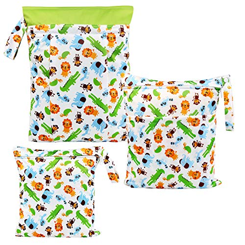 Natte droge tas, LinStyle zuigelingen waterdicht wasbaar herbruikbare twee zakken met rits voor babyluier, reizen, strand, zwembad, kinderopvang, gymtas - 3 stuks