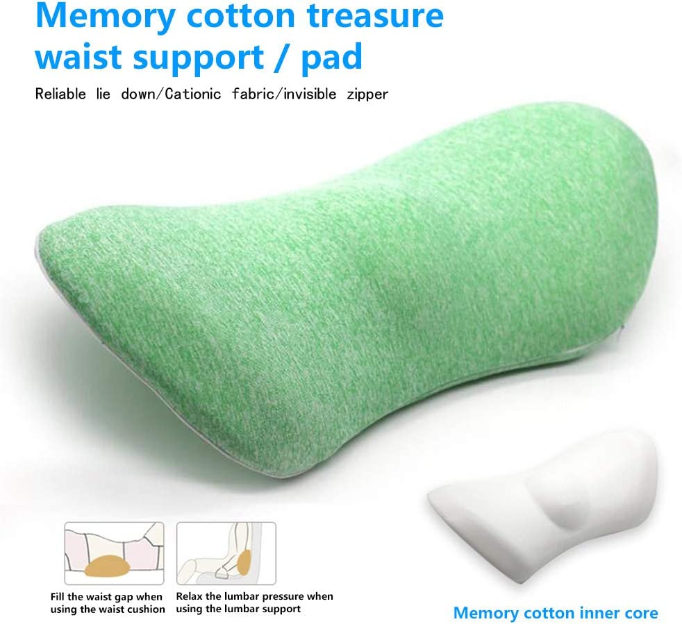 Blue Recliner Memory Foam Lumbar Support Back Cushion Pillow Balanced Firmness for Lower Back Pain Relief Ideal Back Pillow for Office Chair,Car Seat Bed