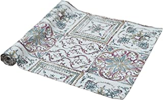 Provence Gray Cotton Table Runner with Geometric Pattern in French Country Style, 47'' x 16'', Grey Mosaic