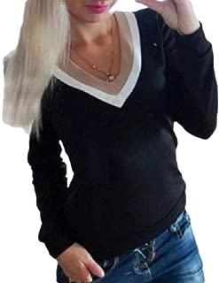 UUGYE Women Shirts V Neck Fashion Pullover Slim Long-Sleeve Blouse Top T-Shirts Black S