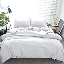 INGALIK Bedding 3 Piece Duvet Cover Set Twin Size with Zipper Closure Ultra Soft Breathable 100% Washed Microfiber Hotel Luxury Solid Color Collection 3pc (1 Duvet Cover + 1 Pillow Shams) White