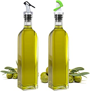 Olive Oil Dispenser and Vinegar Bottle Set with Stainless Steel Rack and 2 Condiment bottles Set, Elegant Life Glass Cruet Bottles with 2 Oil Dispensing Pour Spouts for Easy Pouring
