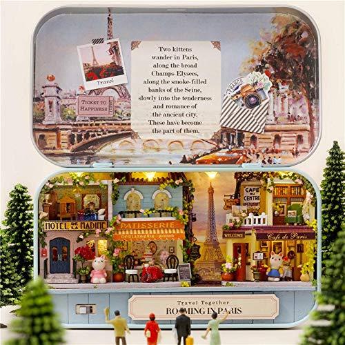 Casas de Muñecas DIY Dollhouse Kit, 3D Casas para mini muñecas de madera Juguetes ensamblados Caja de teatro Casa en miniatura con muebles y luz led para niños Regalo de cumpleaños de Navidad -C