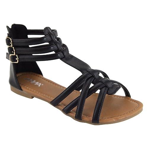 6787ce10dc6 ANNA Mavis-8 Women Buckle Zip Gladiator Sandal