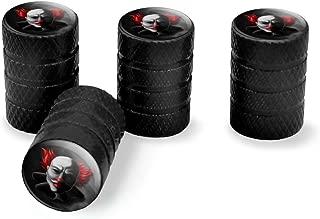 Graphics and More Scary Clown Face Tire Rim Wheel Aluminum Valve Stem Caps - Black