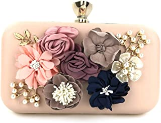 ETH Ladies Rhinestone Beaded Square Flower Decoration Party Evening Bag Wedding Dress Bride Bridesmaid Gift Clutches Bags Metal Chain Shoulder Messenger Bag Wallet for Women Permanent (Color : Pink)