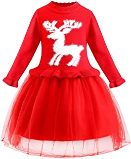 Mayunn Toddler Baby Girls Christmas Santa Print Bow Princess Dresses Clothes Outfits Sets (6Months-4Years)