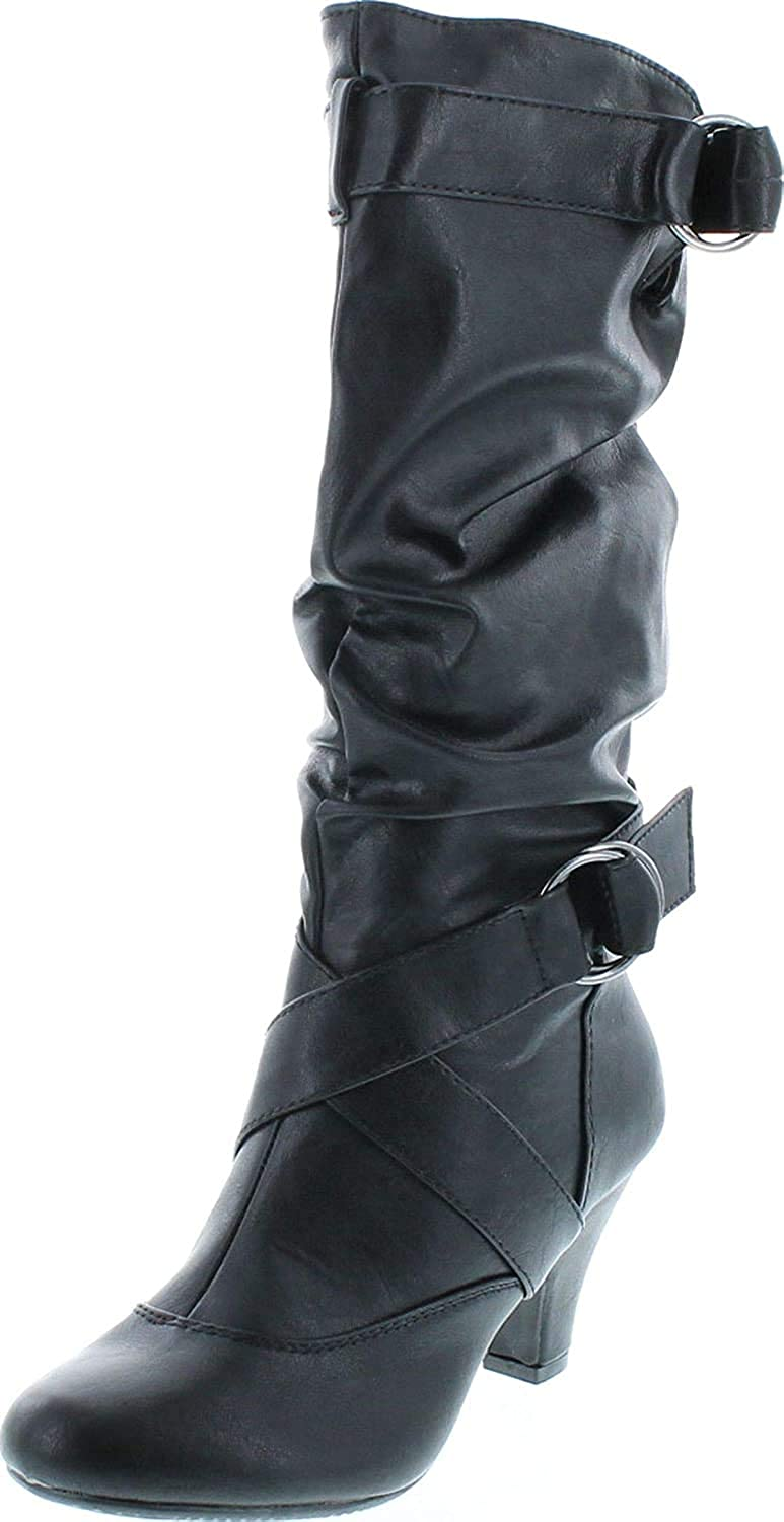 Forever Link Maggie-39 Women's Fashion Low Heel Zipper Slouchy Mid-Calf Boots Shoes