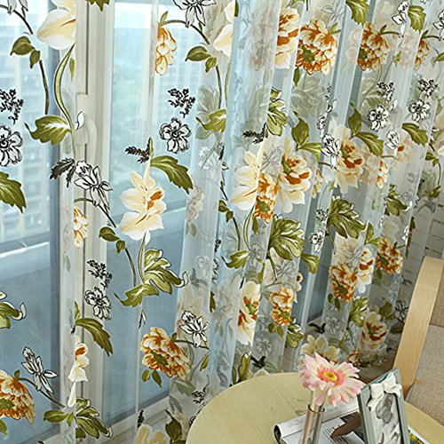 Edal Durable Floral Tulle Voile Voile Curtain Sheer Panel Drape Window Scarfs Yellow Flower
