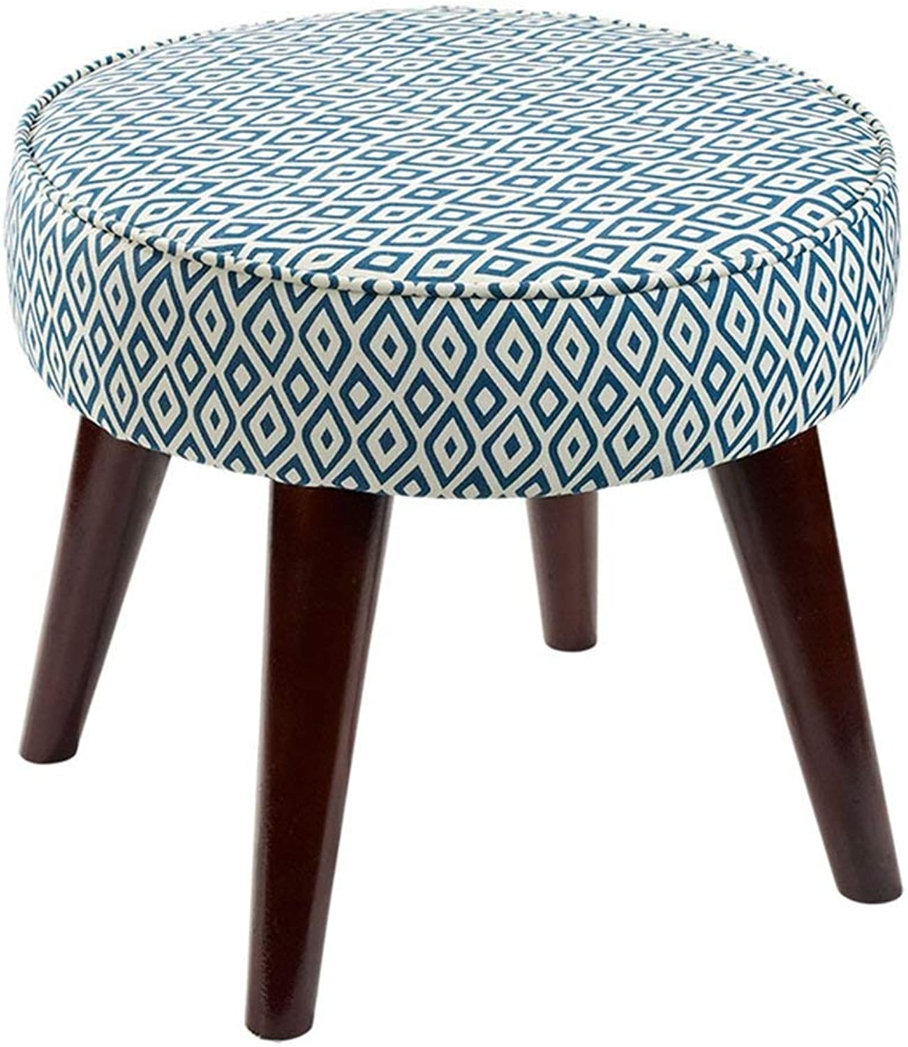 Dengzi Four Footstool Change shoes Stool Fabric Sofa Stool Solid Wood Foot Stool Simple Modern Footstool shoes Small Stool (color   bluee)