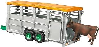 Bruder Livestock Trailer with 1 Cow - Accesorios para maquetas (Verde, Gris, De plástico, Trailer, 1:16, 3 año(s), Previamente montado)