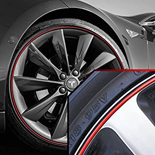 Upgrade Your Auto Wheel Bands Red in Black Pinstripe Rim Edge Trim for Tesla S