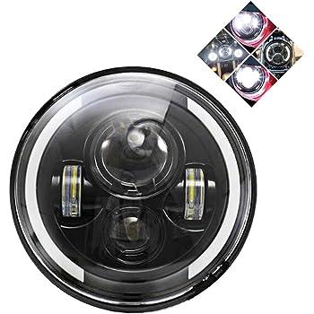 7 Zoll Motorrad Scheinwerfer Frontscheinwerfer 60w Runder Halo Angel Eye Weißer Scheinwerfer Mit Halo Ring Für Halle Auto