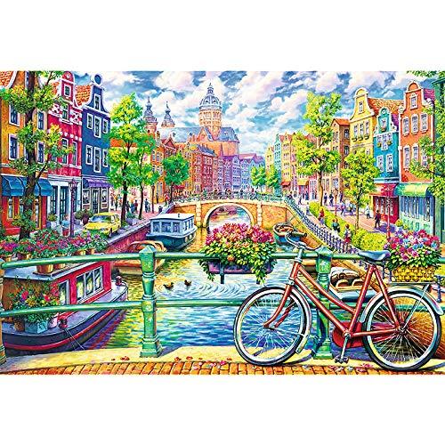 Amsterdamse gracht1000 puzzels, familiepuzzels, houten puzzels, educatieve spellen, intellectuele uitdagingspuzzels, uitdagingsspellen